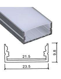 Profilo Alluminio largo 24 mm 2mt Strisce Strip LED Barra Rigida Copertura Opaco