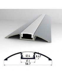 Profilo Alluminio calpestabile 2m pavimento Strisce Strip LED Barra Rigida Opaco