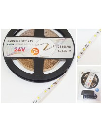 strip led 24v 2835 smd ip20 kit completo trasformatore striscia 5 metri luce calda e fredda strip 300 led