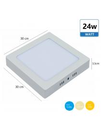 Pannello led surface 24w luce superfice quadrato bianco soffitto illuminazione