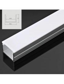 Profilo Alluminio largo 20 mm 2mt Strisce Strip LED Barra Rigida Copertura Opaco