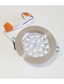 Faro faretto led da incasso acciaio 18w ip20 orientabile rotondo con allette a molla luce calda 3000k