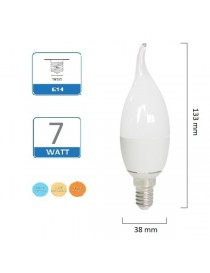 Lampadina candela 7W LED E14 fiamma Satinata colpo luce per lampadari e applique