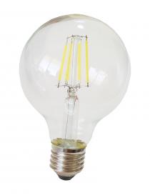 Lampadina filamento led globo E27 6w pallina sfera G80 trasparente luce calda 2700k fredda bianca 6500k