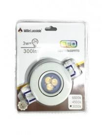 Faro faretto luce led 3w da incasso rotondo alluminio bianco orientabile ip20