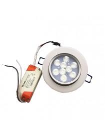 Faro faretto led incasso bianco 9w ip20 orientabile rotondo luce fredda naturale