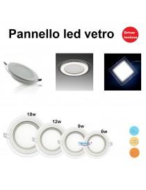 Pannello led vetro a incasso tondo 6 9 12 18w retro illuminazione driver incluso