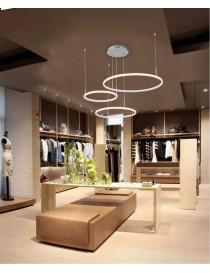 Lampadario sospeso 52w led 3 cerchi design moderno pendente con anelli per camera salotto