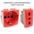 Presa bivalente e schuko rosso compatibili Btcino Living light e international per segnalazione UPS frutti