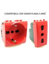 Presa bivalente e shuko rosso compatibili Vimar plana per segnalazione UPS frutti