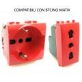 Presa bivalente e shuko rossa compatibili Btcino Matix per segnalazione UPS frutti