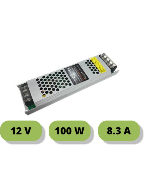 Trasformatore ultrasottile 12V 8.3A  100W alimentatore strip led 25mm