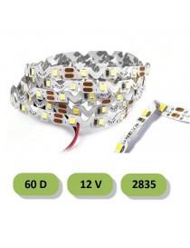 Striscia led curvabile 60D 12V smd 2835 IP 22 5 metri 5W/mt strip pieghevole