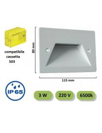 Segnapasso led incasso 3W per cassetta scatola 503 220V applique luce per esterno lampada parete