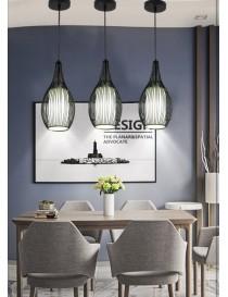 Lampadario sospensione goccia gabbia metallo E27 pendente a filamenti moderno nero bianco