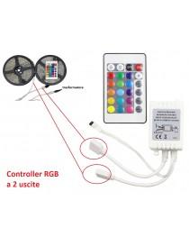 Controller centralina a 2 uscite con telecomando per strip striscia led RGB 12V