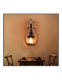 Applique da parete luce led E27 lanterna in legno e vetro design vintage rustico lampada muro per interno