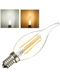 Lampadina led filamento fiamma  4w bulbo E14  colpo di vento candela trasparente luce calda 2700k fredda bianca 6500k