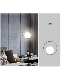 Lampadario a sospensione cerchio con sfera E27 35 cm oro argento lucido pendente moderno led minimal