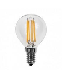 Lampadina led filamento globo 4w bulbo E14 sfera trasparente luce calda 2700k fredda bianca 6500k