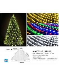 Mantello per albero di Natale da 1.8 a 2.1 mt rete luminoso natalizio 198 luce led filo cavo verde