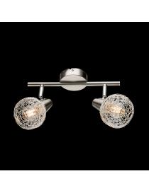 Lampadario moderno a plafoniera faretto led spot 2 luci E14 camera da letto salotto alluminio satinato orientabile