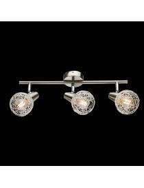 Lampadario moderno a plafoniera faretto led spot 3 luci E14 camera da letto salotto alluminio satinato orientabile