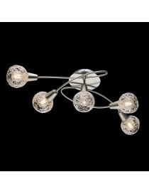 Lampadario moderno a plafoniera faretto led spot 5 luci E14 camera da letto salotto alluminio satinato orientabile
