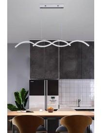 Lampadario led sospeso onda 25w pendente ondulato design moderno bianco argento luce fredda naturale
