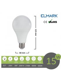 Lampadina led globo A60 E27 15w attacco grande sfera basso consumo luce fredda naturale calda