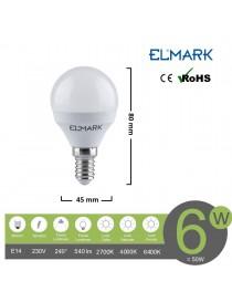 Lampadina led globo G45 E14 6w attacco piccolo sfera bianco basso consumo luce fredda naturale calda