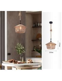 Lampadario sospeso con corda di canapa E27 portalampada attacco grande pendente da soffitto design vintage rustico