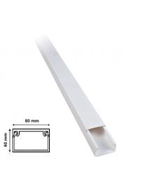 2 mt Canalina per cavi elettrica 80x60 mm in plastica passacavi bianco coprifili a parete con copertura