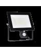 Faro proiettore led nero da esterno con sensore di movimento impermeabile luce bianca fredda