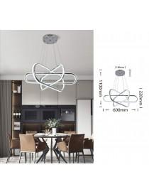 Lampadario sospeso a strisce led 94w incrociato argento luce da soffitto moderno fiore per cucina soggiorno