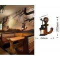 Applique da parete luce led E27 lanterna ancora nero in metallo legno design vintage lampada muro rustico