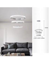 Lampadario a sospensione led 52w con cerchi argento design moderno per camera cucina salotto