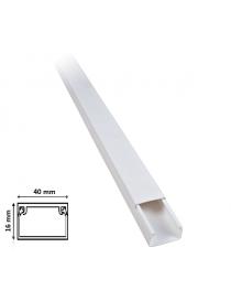 2 mt Canalina per cavi elettrica 40x16 mm in plastica passacavi bianco coprifili a parete con copertura