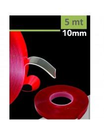 Nastro biadesivo 5 m 10mm per strip striscia led extra forte resistente al calore trasparente