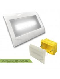 Lampada Emergenza luce led fredda incasso per scatola cassetta 503 con placca bianca