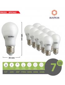 X10 lampadina led E27 bulbo A55 7W luce bianca naturale calda Mapam