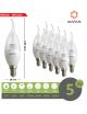 X10 lampadina led E14 candela trasparente 5w luce bianca naturale calda Mapam