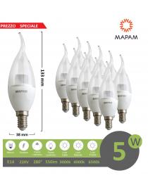 X10 lampadina led 5w E14 candela trasparente attacco piccolo luce bianco naturale calda