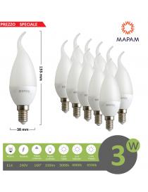 X10 lampadina led E14 candela opaca 3w luce bianca naturale calda Mapam