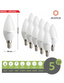 X10 lampadina led oliva opaco E14 5w luce calda Mapam
