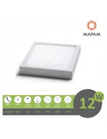 Plafoniera led 12w quadrato faretto da soffitto pannello a parete luce bianco calda
