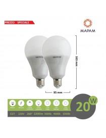 X2 Lampadina led 20w E27 bulbo attacco grande 220V luce bianco naturale calda