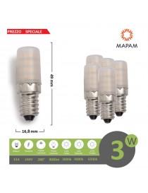 X5 Lampadina led 3w E14 per frigo frigorifero cappa attacco piccolo luce naturale 220V