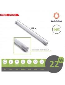 X6 Tubo led 22w attacco T8 neon 150 cm connessione unilaterale L/N in vetro tubi luce bianco freddo