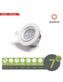 Faretto led 7w orientabile tondo 220V ghiera bianco da incasso cartongesso luce fredda naturale calda